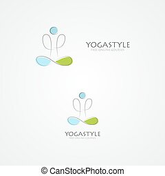 Vector logo with a man in yoga pose