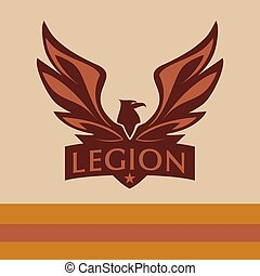 Vector logo with a picture of an eagle. Legion