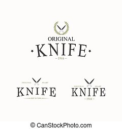 Vector logo with a set of knives on white background. -...
