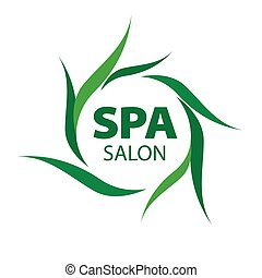 vector logo with green leaves for Spa salon