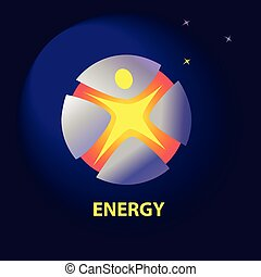 Vector logo with symbols of natural resources and sun energy.