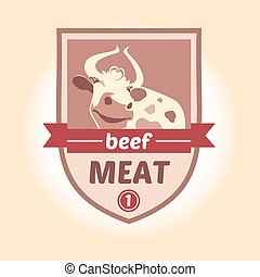 Vector logo with the image of a cow. Meat products, sausages, mince. Heraldic style