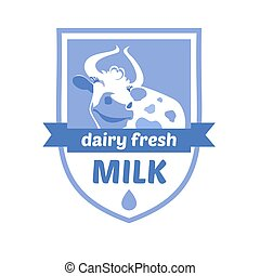 Vector logo with the image of a cow. Milk and milk products, ice cream. Blue background, heraldic style