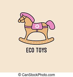 wooden rocking horse - Vector logo wooden rocking horse with...