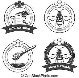 vector, logos, kentekens, ouderwetse , etiketten, bij, honing, set, emblems