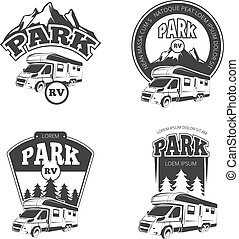 vector, logos, rv, kentekens, kampeerauto's, etiketten, set, emblems