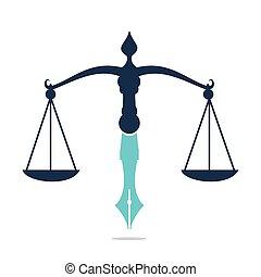 vector, logotipo, balance., judicial, ley