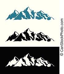 vector, logotipo, de, alpes, montañas