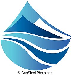 vector, logotipo, de, montañas azules, icono