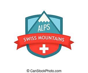 vector, logotipo, de, suizo, montañas