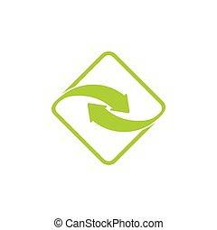 vector, logotipo, flecha, ligado, gire