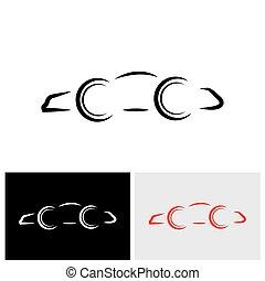 vector, logotipo, icono, de, un, moderno, día, coche, o, automóvil