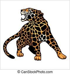 vector, logotipo, icono, ilustración, jaguar, carácter