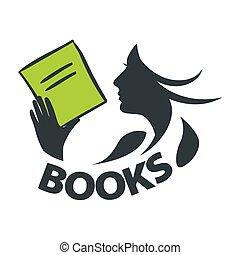 vector, logotipo, lectura de la muchacha, un, libro