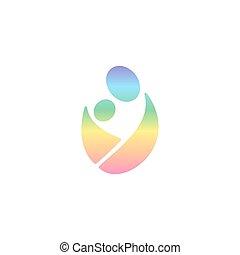 vector, logotipo, llevando, bebé, en, sling., arco irirs,...