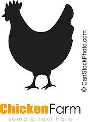 vector, logotipo, pollo