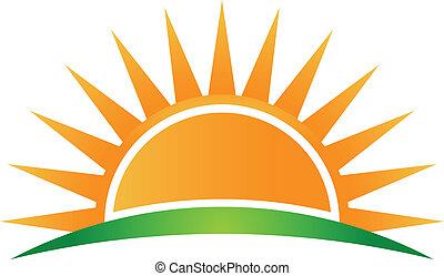vector, logotipo, sol, horizonte