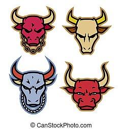vector., logotipo, touro, ícone, corrente, projetos, cabeça, pescoço