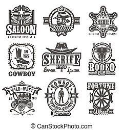 vector, logotipos, conjunto, tierra virgen al oeste