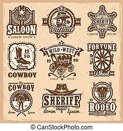 vector, logotipos, oeste, conjunto, salvaje
