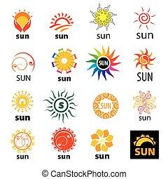 vector, logotipos, sistema del sol, grande