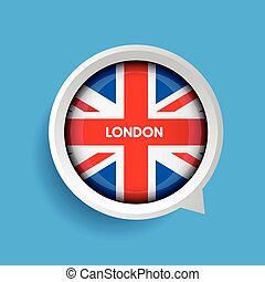 Vector - London and United Kingdom Flag button
