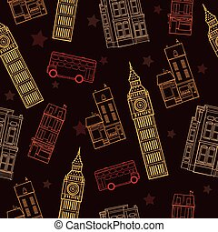 Vector London Symbols Brown Seamless Pattern With Big Ben Tower, Double Decker Bus, Houses and Stars.
