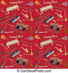 Vector Long live Rock and roll seamless pattern