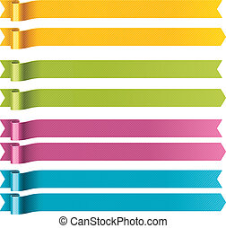 Set of bright long waved ribbons in four colors