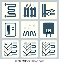 vector, loodgieterswerk, set, heizung, pictogram