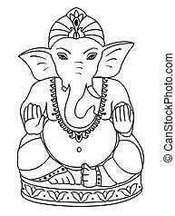 Vector Lord Ganesha. Outline sketch of Ganesha for coloring book.