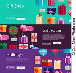 Vector lot of gift boxes or packages