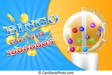 Vector lottery banner, bingo game background