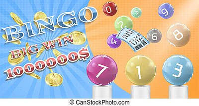 Vector lottery bingo game poster, banner template.