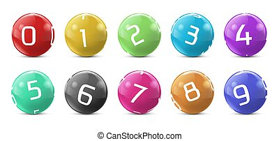 Vector lotto, bingo colored balls with numbers