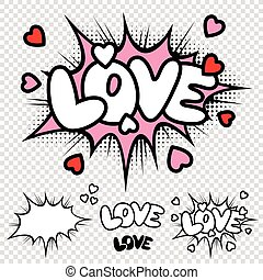 Vector Love Comic text Illustration
