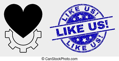 Vector Love Gear Icon and Scratched Like Us! Seal - Vector ...
