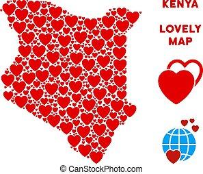 Vector Love Kenya Map Mosaic of Hearts