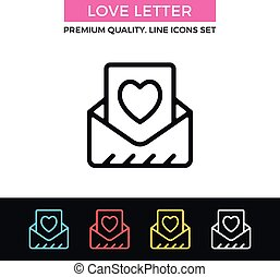 Vector love letter icon. Envelope and message with heart. Greeting card, Valentine's day concept. Thin line icon