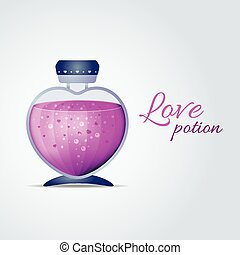 Vector Love Potion for Valentines Day cards - Bottle with...