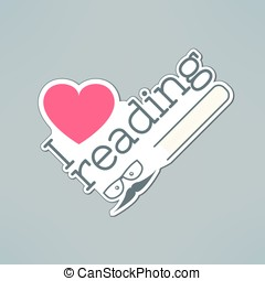 Vector love reading banner with heart and book in modern flat design. Hipster education and literature concept