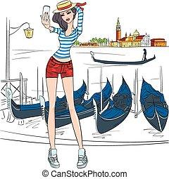 Vector lovely fashion girl  makes selfie in Venice