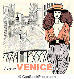 Vector lovely fashion girl on a Venice background