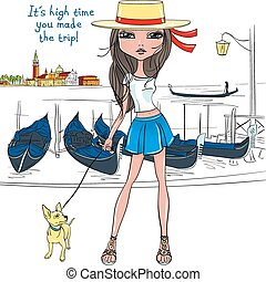 Vector lovely fashion girl with dog in Venice