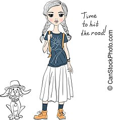Vector lovely fashion girl with dog - Lovely fashion girl...