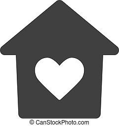 Vector Lovely House Flat Icon Symbol