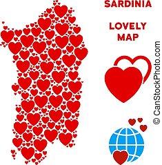 Vector Lovely Italian Sardinia Island Map Mosaic of Hearts -...