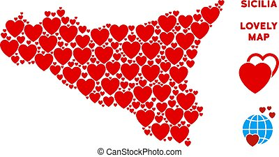 Vector Lovely Sicilia Map Composition of Hearts - Love...