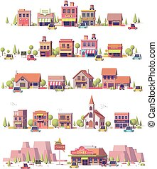 Vector low poly 2d small town scenes set