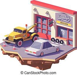 Vector low poly automobile repair shop